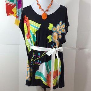 Trina Turk floral tunic/dress/coverup S